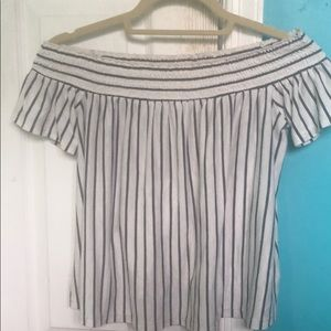Off the shoulder white and grey stripped top